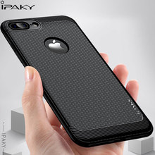 IPAKY For Iphone 7 Case Slim Litchi Leather Grained TPU Silicon Cover 8 X Soft Silicone Shockproof Phone Cases