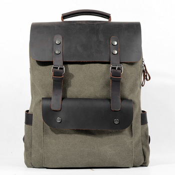 High Quality [Canvas + Real Cowhide Leather] Luxury Women Men Backpack Travel School Bags Large Capacity Laptop Daypack Bookbag