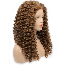 DLME High temperature fiber swiss lace brown curly lace front wig synthetic hair with free part black women wigs
