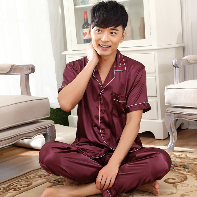 2016 New Luxurious Pajamas Set Men Sleepwear Short Sleeve Trousers Silk Satin Pyjamas Set Mens Silk Sleep shirt Plus Size 3XL