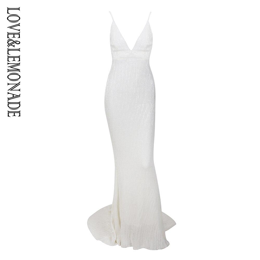 Kadın Giyim'ten Elbiseler'de Aşk ve Limonata Derin V Yaka Beyaz Aç Geri Fishtail Ince Elastik Sequins uzun elbise LM1139'da  Grup 1