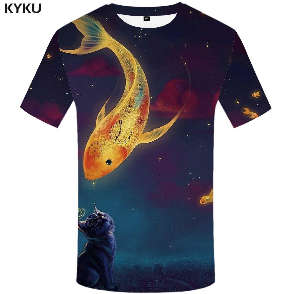 KYKU Marque Chat Chemise Baiser Poissons T-shirts Galaxy T-shirt Espace Tops 3d T-shirt Animal Chat Chemises T-shirts Femmes Sexy Drôle 2017