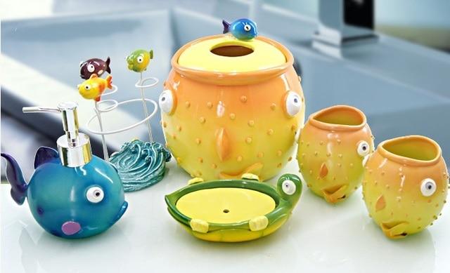 luxury bathroom set for child five pieces set resin cartoon toothbrush holder, lotion dispenser, soap dish & tumbler