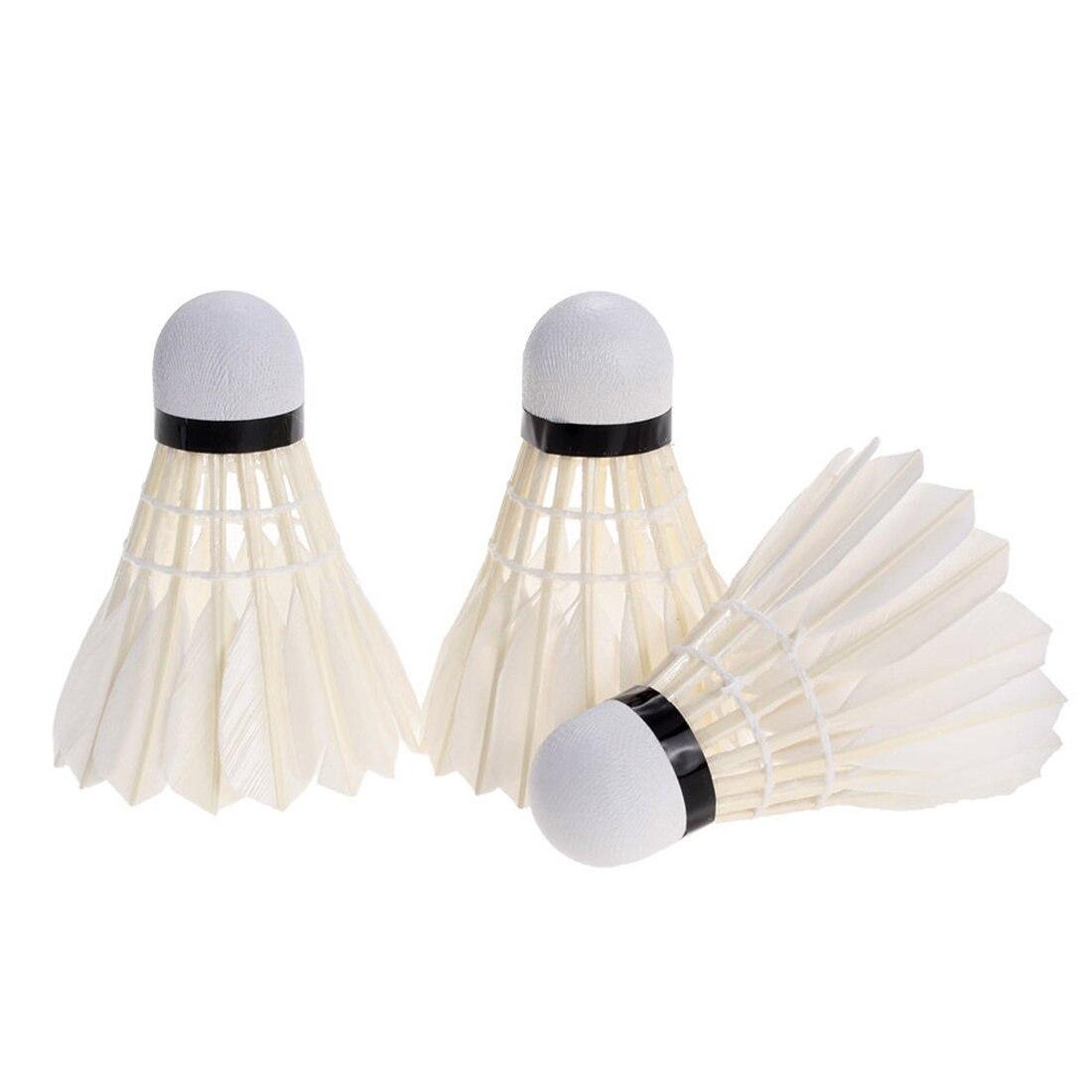 3 Pcs Portable White Duck Feather Shuttlecock Training Badminton Balls Shuttlecocks Sport Products