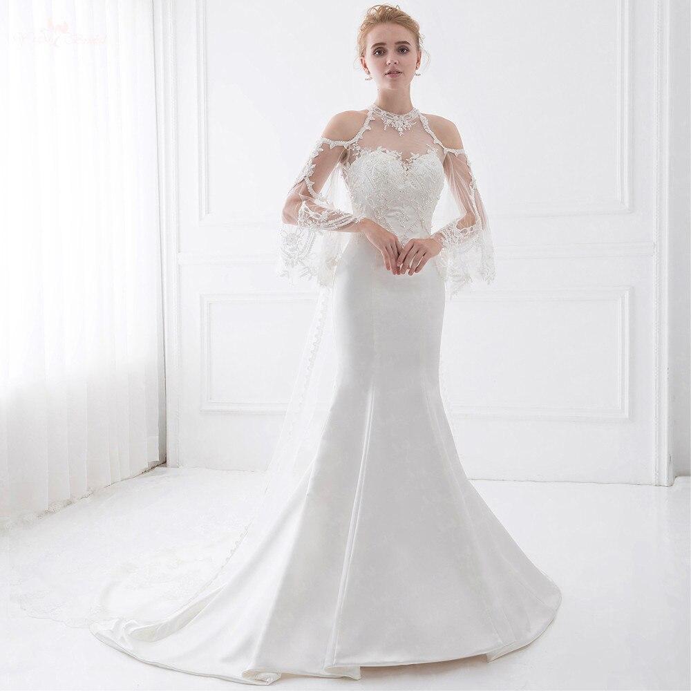 US $18.18 LZ1918 Queen Anne Illusion Brautkleider Mit Abnehmbarem Zug  Perlen Hochzeitskleid Spitze Meerjungfrau Hochzeitskleidillusion wedding
