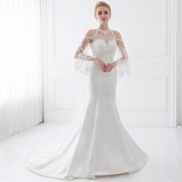 LZ190 Queen Anne Illusion Wedding Dresses With Detachable Train Beaded Wedding Dress Lace Mermaid Wedding Dress