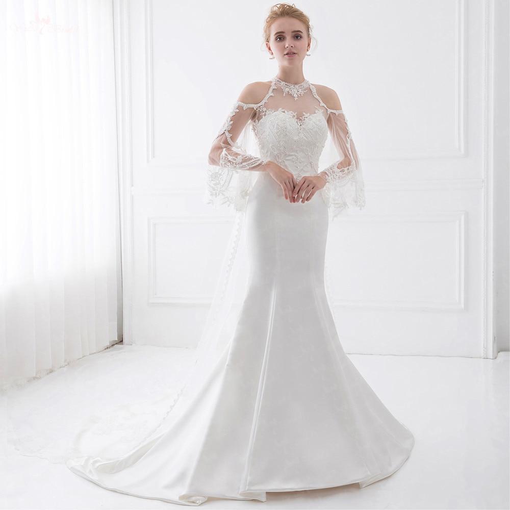 LZ190 Queen Anne Illusion Wedding Dresses With Detachable Train Beaded Wedding Dress Lace Mermaid Wedding Dress