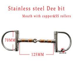 Envío gratis de acero inoxidable racing Dee bit, boca con SS y rodillos de cobre. Producto de caballo, producto de Carreras de Caballos (BT0401)