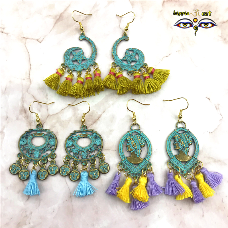 2018 Summer New Hand Made Tassel Plated Ancient Bronze Earrings Seaside Holiday Ornaments of India wind Island, Thailand