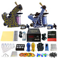Solong Tattoo Pro Tattoo Kit 2 Rorary Tattoo Machine Gun Power Supply 1 Practice Skin Dual-sided Re-usable One Set TK202-36