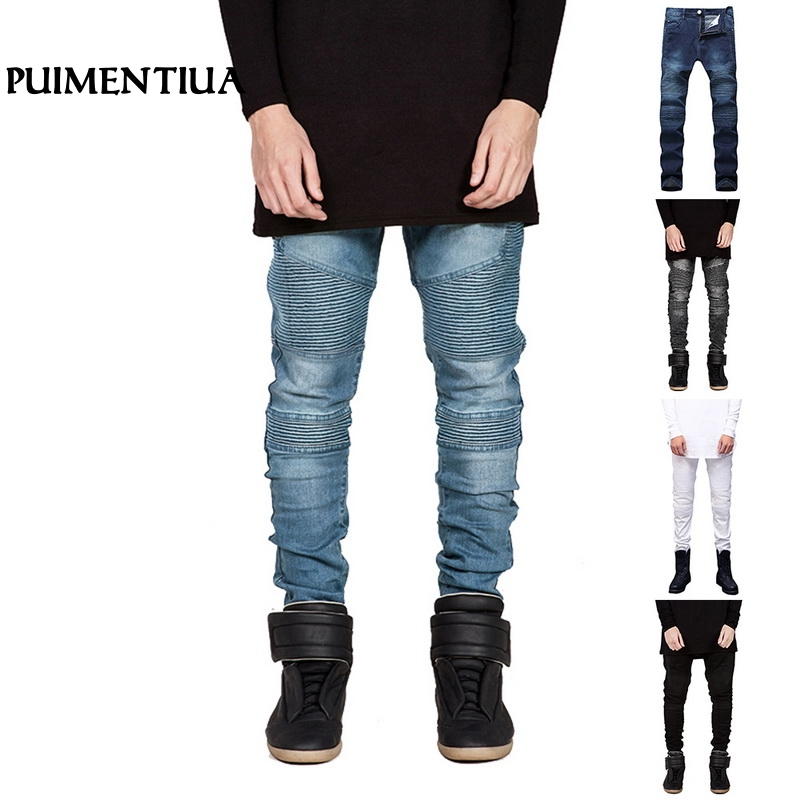 Puimentiua 2019 Men's Fashion Fold Stretch Slim Fit Hole Jeans Male Straight Tapered Leg Skinny Denims Striped Trousers Pants