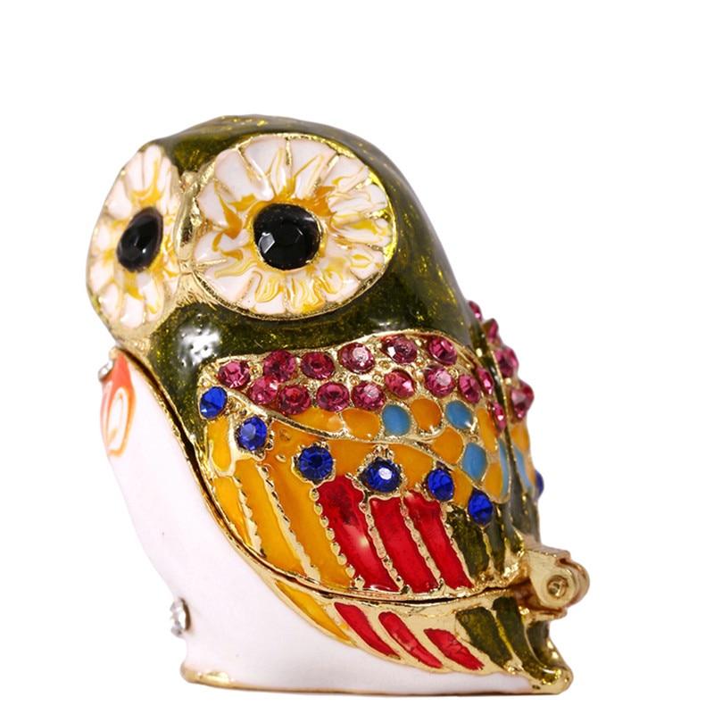 1.5*1.3IN Brown Metal Owl Trinket Box Home Decor Display Figurine Wedding Jewelry Beauty Storage Stands Birthday Gift Crafts
