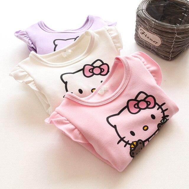 Мода плюс бархат зимний свитер детей мультфильм hello kitty новорожденных девочек с капюшоном утолщаются детская одежда девушки толстовки и кофты