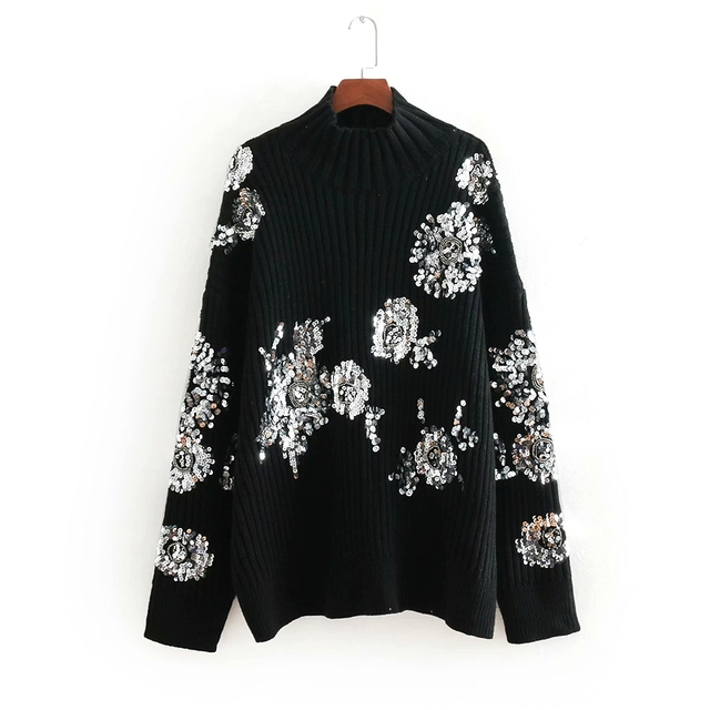 women fashion sequins floral embroidery oversized casual knitted sweater  chic pullovers female streetwear brand sweaters S035 efd1591d68
