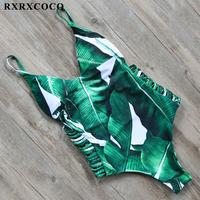 RXRXCOCO 2018 Hot   One     Piece   Swimsuit Women Sexy Swimwear Women Bodysuit Bathing   Suit   Beach Wear Leaf Printed Bandage Monokini