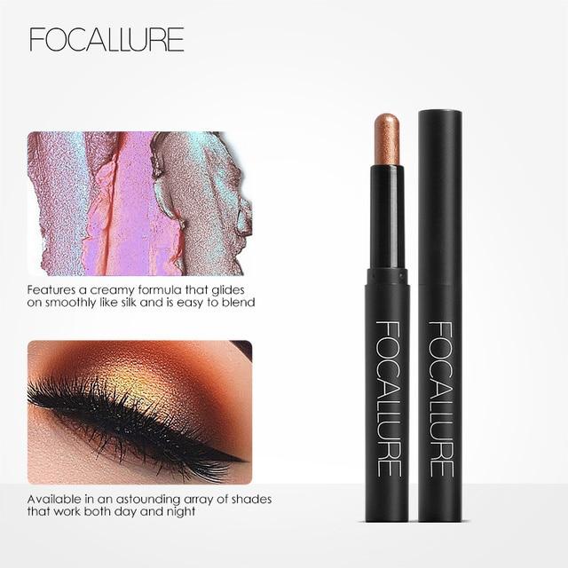 FOCALLURE Glitter Eyeshadow Pencil Metallic Shadow Eye Makeup Cosmetics Easy to Wear Eye Shadow Stick 4