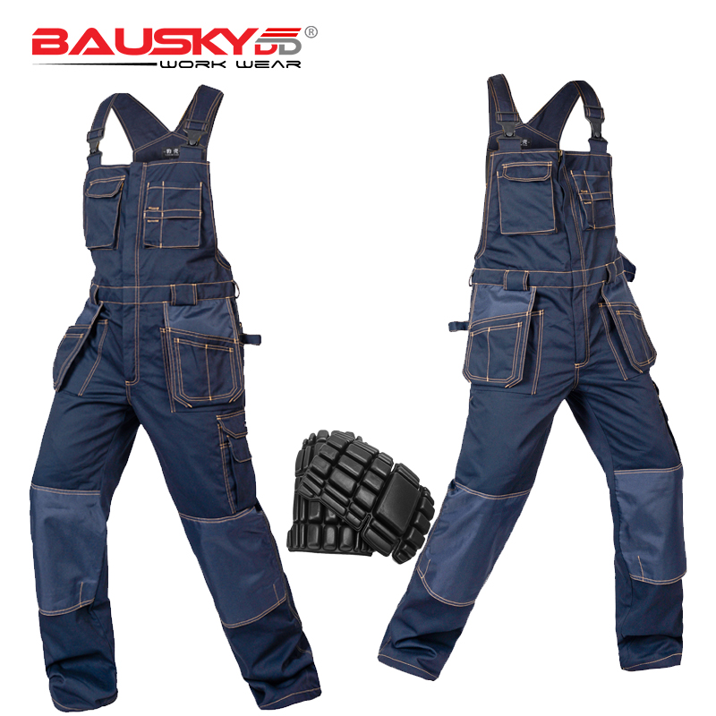 Heavy Duty Work Bib and Brace Overalls with Knee Pads Pocket dark blue work wear Craftsman