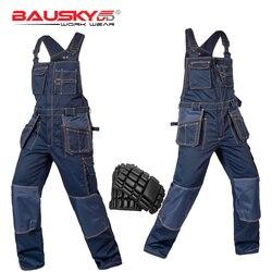 Тяжелая работа нагрудник и скобка комбинезоны с наколенниками карман темно-синий рабочая одежда Craftsman Bib Brace комбинезон