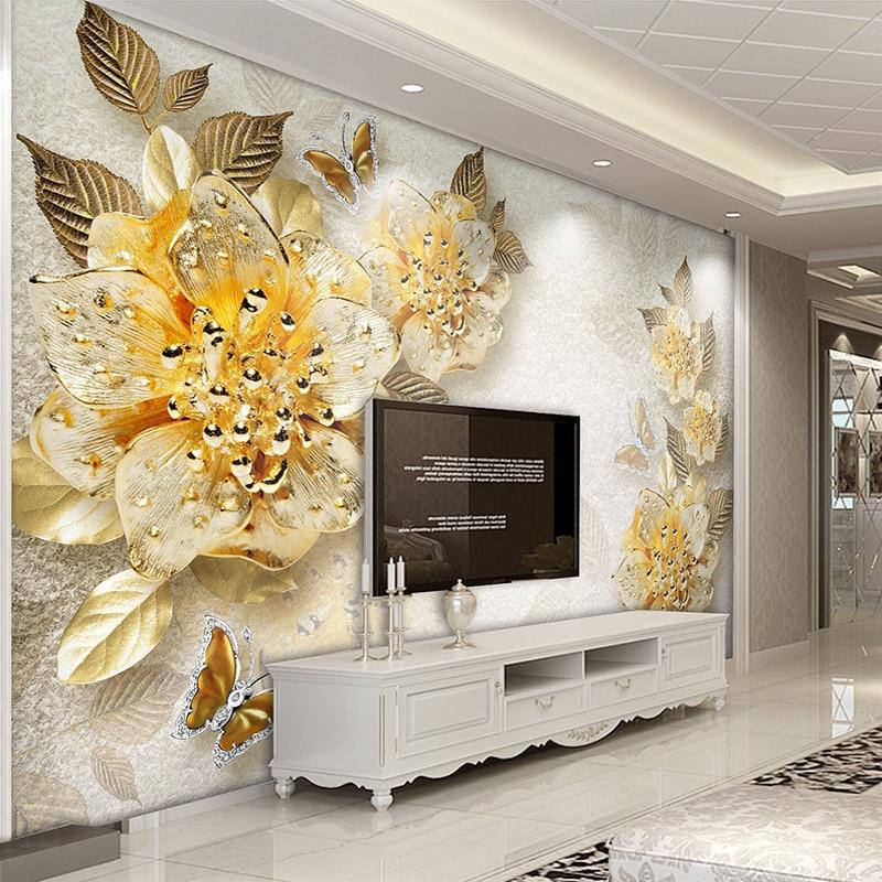 Custom Photo Mural Wallpaper Golden Flowers Diamond Jewelry Background Wall Murals Modern European Style Living Room Decoration