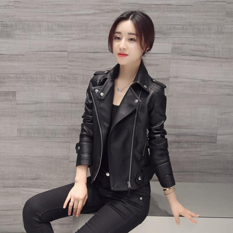 2018 New spring and autumu pu locomotive rive   leather   jacket womens short style slim plus sizes short coat   leather   jacket L17