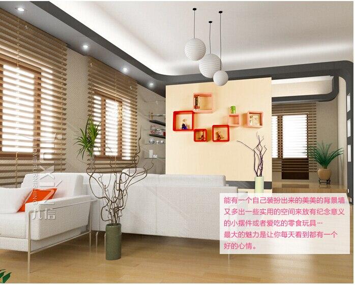 3pieces / lot persegi Berbentuk Rak hias dinding Rak kayu Rak moden - Organisasi dan penyimpanan di dalam rumah - Foto 3