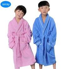 Купить с кэшбэком iAiRAY children robe child towel bathrobe girl pyjamas kids bath robes thick cotton bathrobe for girls big boys pajamas sleepers