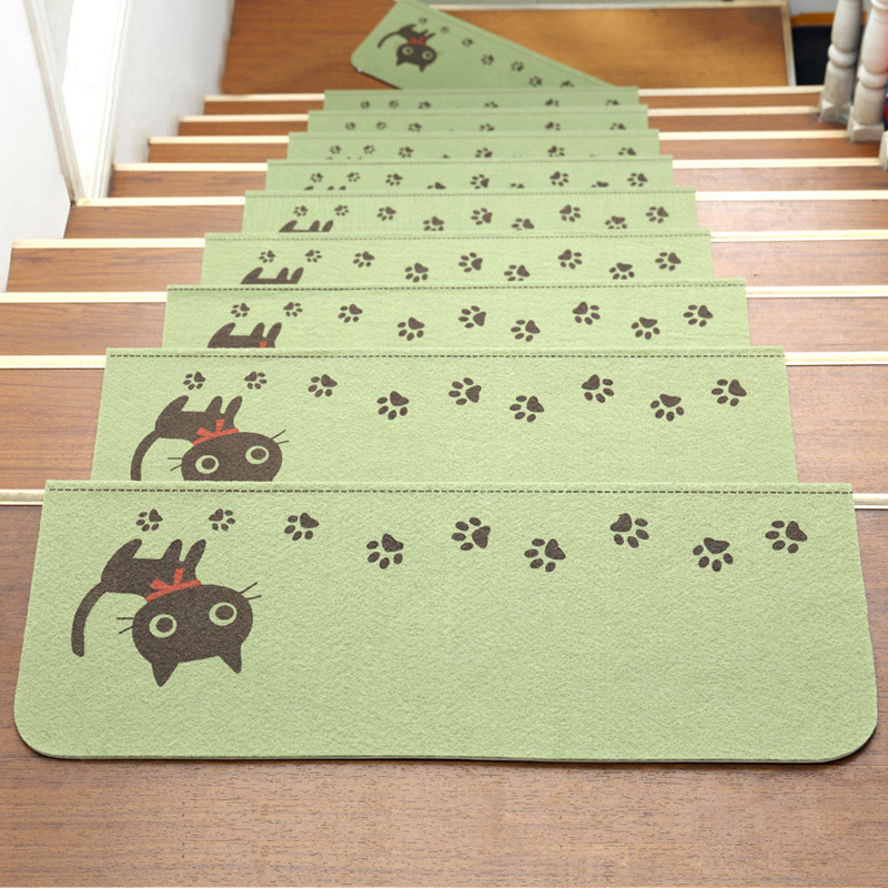 Luminous Visual Stair Pads Anti-slip Noise insulation Floor Area Rug Carpets Green Latex Stairs Decor Warm Stairs Bear Mat