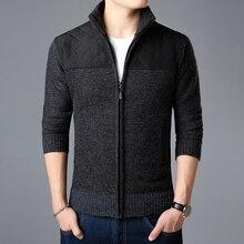 Jersey de marca a la moda para hombre, cárdigan con cremallera, entallado, jerseys de punto grueso, ropa informal de estilo coreano para hombre 2020