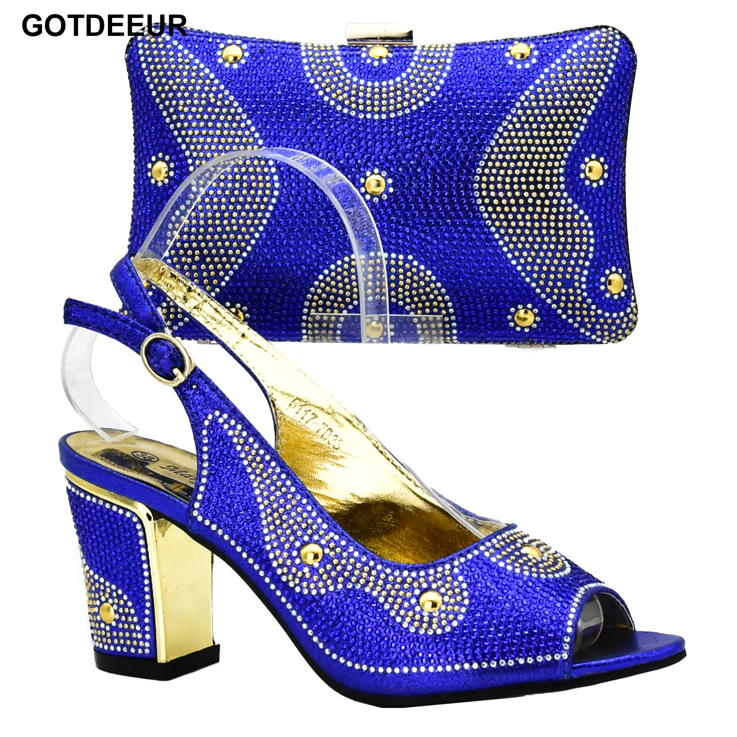Latest Royal Blue Color Italian Ladies Shoes and Bags To Match Set Decorated with Rhinestone African Wedding Shoes and Bag Set