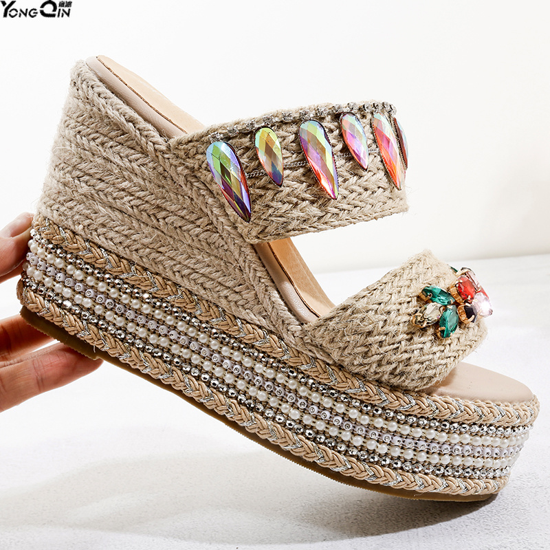 New summer comfortable waterproof sandals shoes thick bottom high heel wedge rhinestone women sandalsNew summer comfortable waterproof sandals shoes thick bottom high heel wedge rhinestone women sandals