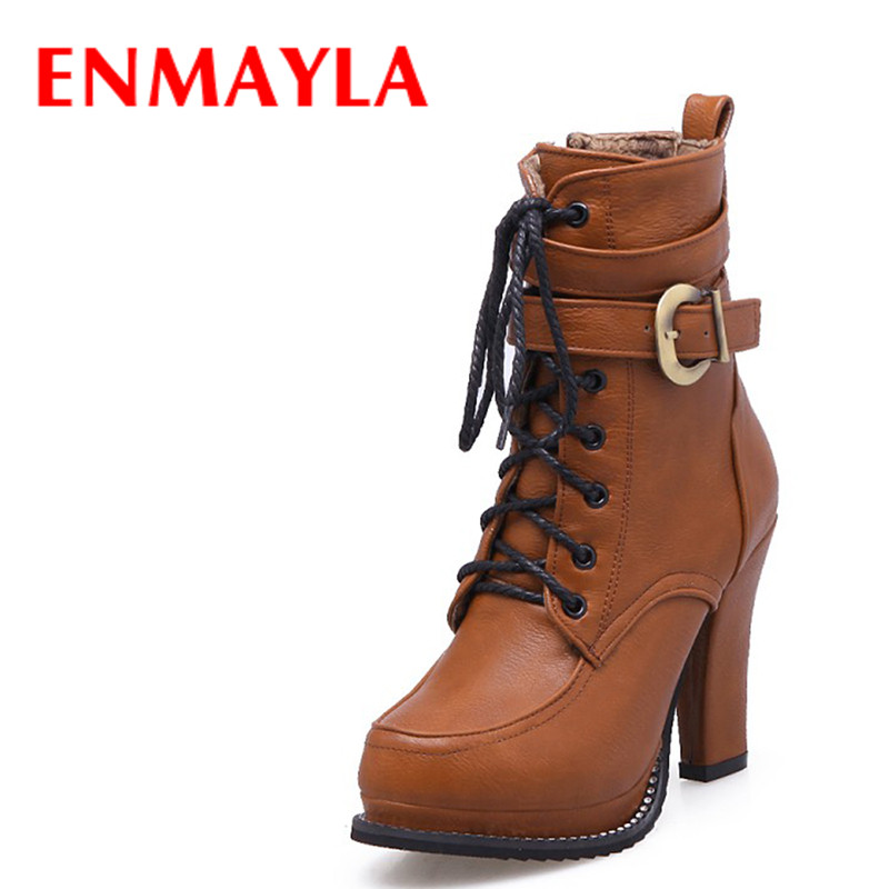 ENMAYLA Autumn Winter High Heels Platform Buckle Ankle Boots Women Lace-up Punk Crystal Shoes Woman Knight Boots Yellow Black enmayla lace up mew ankle boots for women high heels wedges size 34 39 round toe autumn and winter boots platform shoes riding