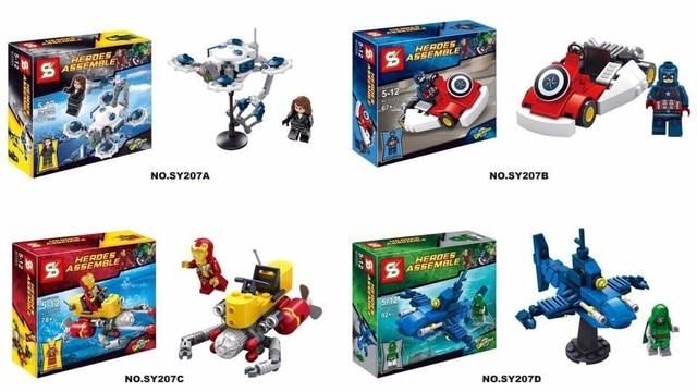 SY207 4Pcs/set Super Heroes Avengers Minifigures Heroes Assemble ...