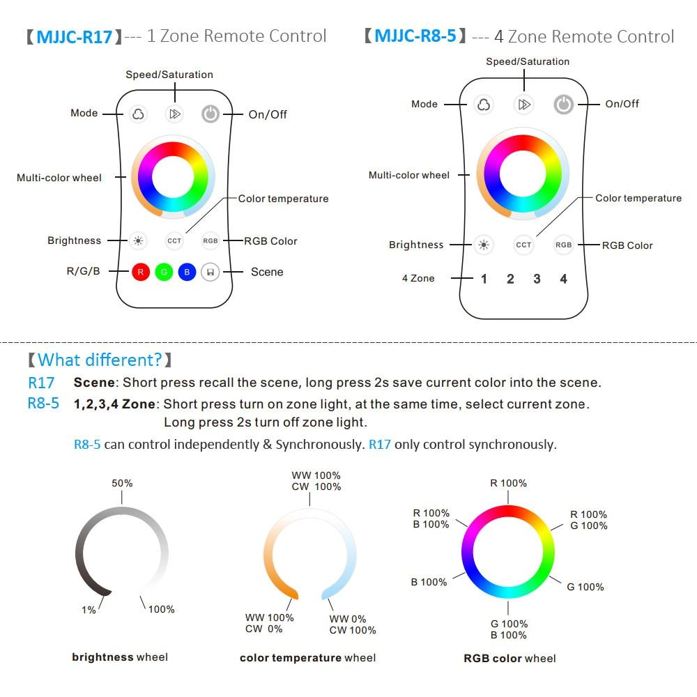 conduzida luz controlador wi fi sem fio rf controle remoto 24g toque 04