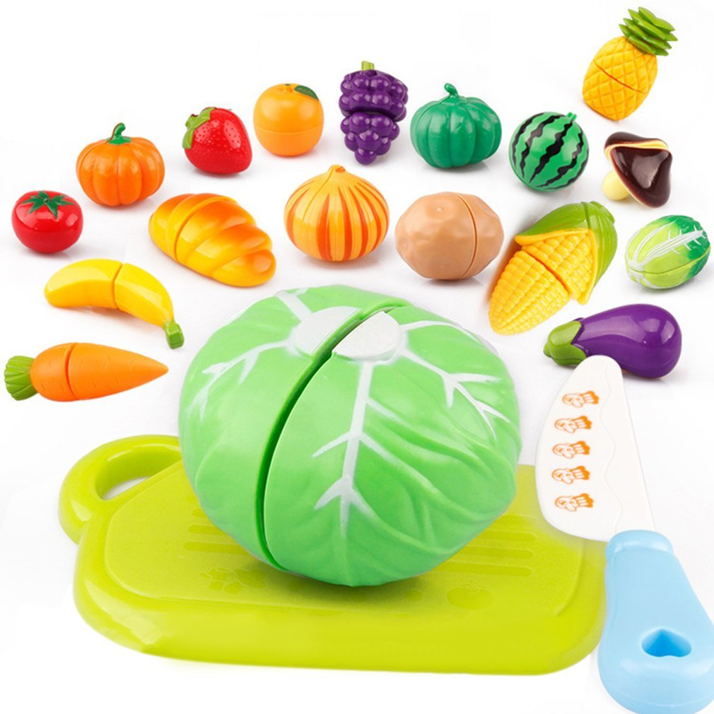Kids Kitchen Toys Fruit Vegetable Cutting Food Play Early Development Education Toy Baby Pretend Toys for Children 29Pcs/Set