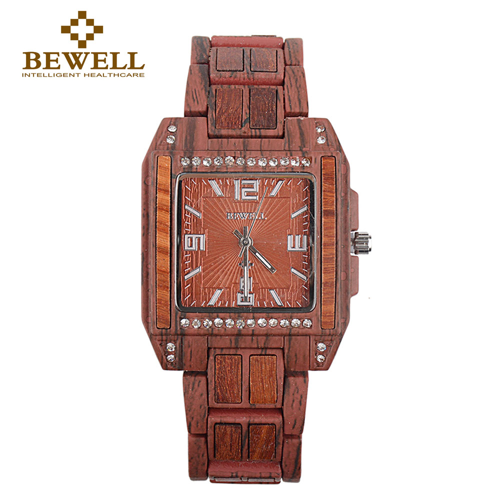 BEWELL Watch Gift Ladies Luxury Brand Quartz Alloy 1056A Steel-Wood-Alloy Japanese Special-Design