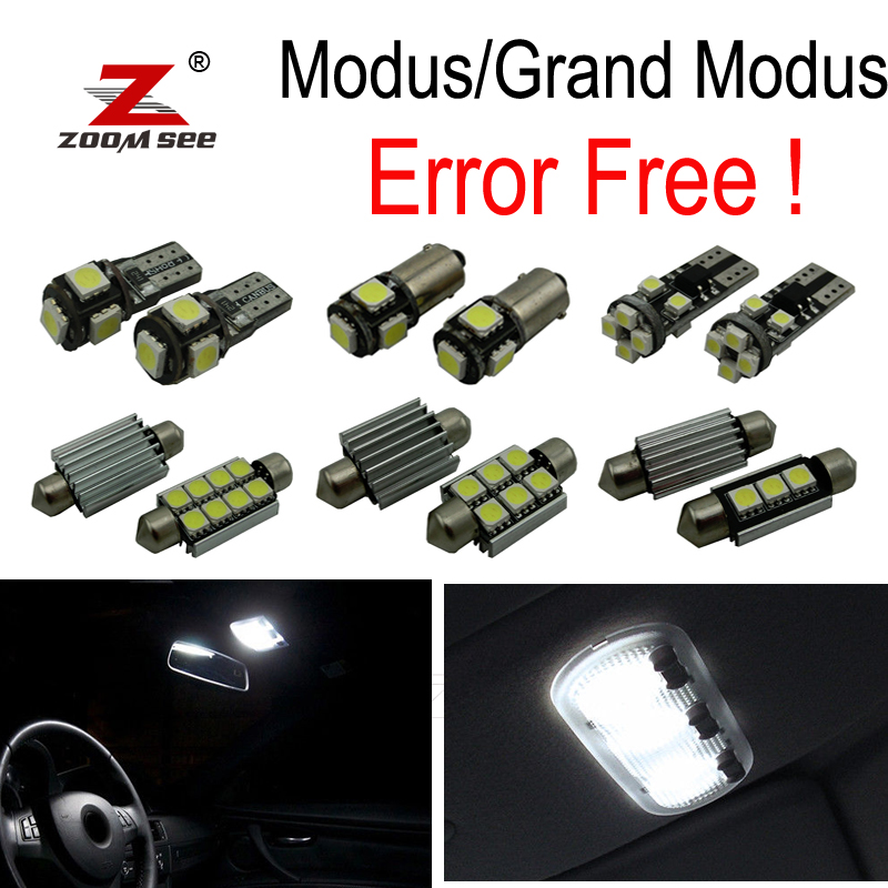 12pc x For 2004-2013 <font><b>Renault</b></font> <font><b>Modus</b></font> Grand <font><b>Modus</b></font> Error Free Car <font><b>LED</b></font> bulbs Interior Reading dome map trunk Light Kit image