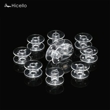 Hicello 10pcs/bag Plastic Sewing Tool Thread String Empty Spools Clear Bobbin Spools For Brother Singer Sewing Machines 2x1cm