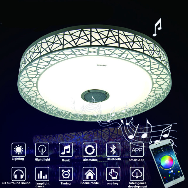Music mounted light 36w led music ceiling light with bluetooth music mounted light 36w led music ceiling light with bluetooth music 90 260v modern aloadofball Choice Image