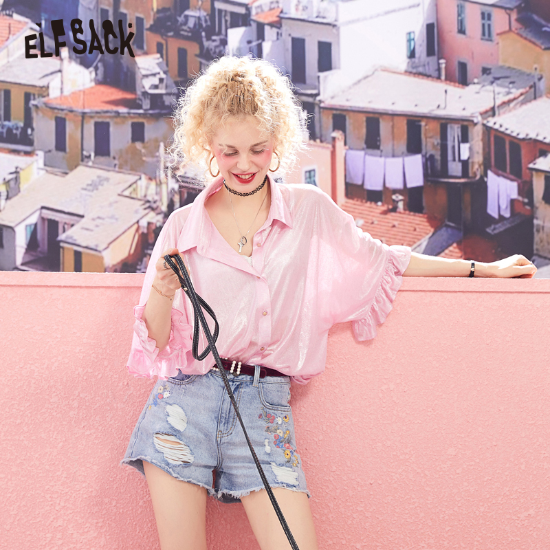 ELF SACK Loose Solid Women Blouses Fashion Butterfly Sleeve Woman Shirts Sweet Elegant Pink Femme Blouse