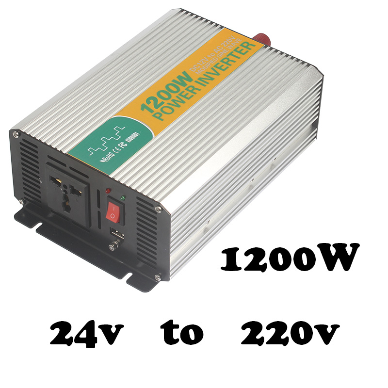 1200W 24V to 220V mdified sine wave car inverter for laptop off grid 1200watt dc ac power inverter 24v to 220/240vac 6tq040 to 220