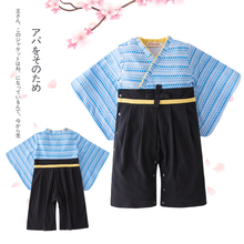 Newborn Japanese Baby Kimono Romper Clothes Kids Boy Summer Cotton Pajamas Long Sleeve Jumpsuit Children Halloween Funny Costume(China)