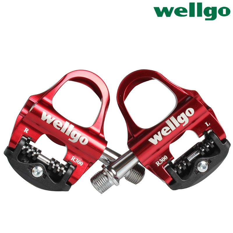 Wellgo R300 Bicycle Pedals Road Bike Self-locking Pedals Cycling Ultralight Aluminium Alloy Pedales de Bicicleta Sealed Bearing