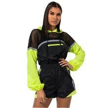 5c2fd56c2de Sexy Fluorescent couleur maille Patchwork survêtement femmes décontracté à  manches longues haut court Shorts d
