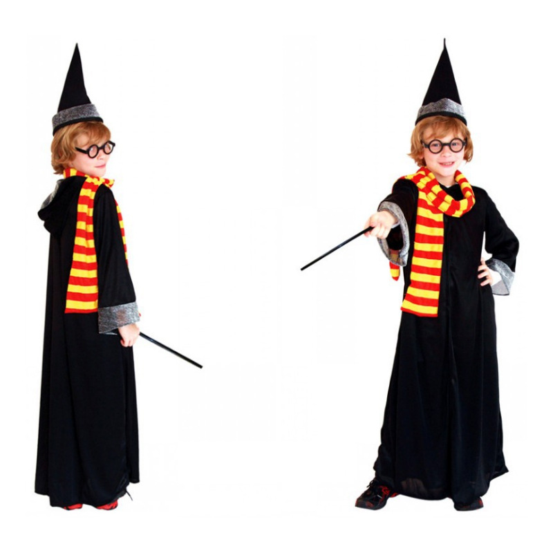 Harry Potter Cosplay Wizard's Robe Costume Cosplay Robe Gown Halloween Costume for Kids Children 5 pc Set