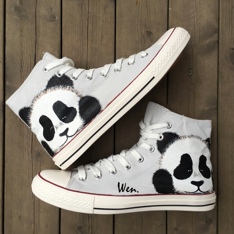 d70c07abc6b Wen Hand Painted Grey Shoes Design Custom Cute Panda Men Women s High Top  Canvas Sneakers for Boys Girls Christmas Gifts
