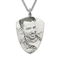 Groothandel Zilveren Gepersonaliseerde Foto Gegraveerd Ketting mannen Shield Ketting Custom Foto Ketting Foto Gift voor Mannen