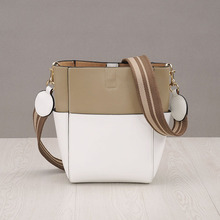 Panelled design 2017 genuine leather women bucket bags handbag New Fashion brand shopping shoulder bags Casual composite bags