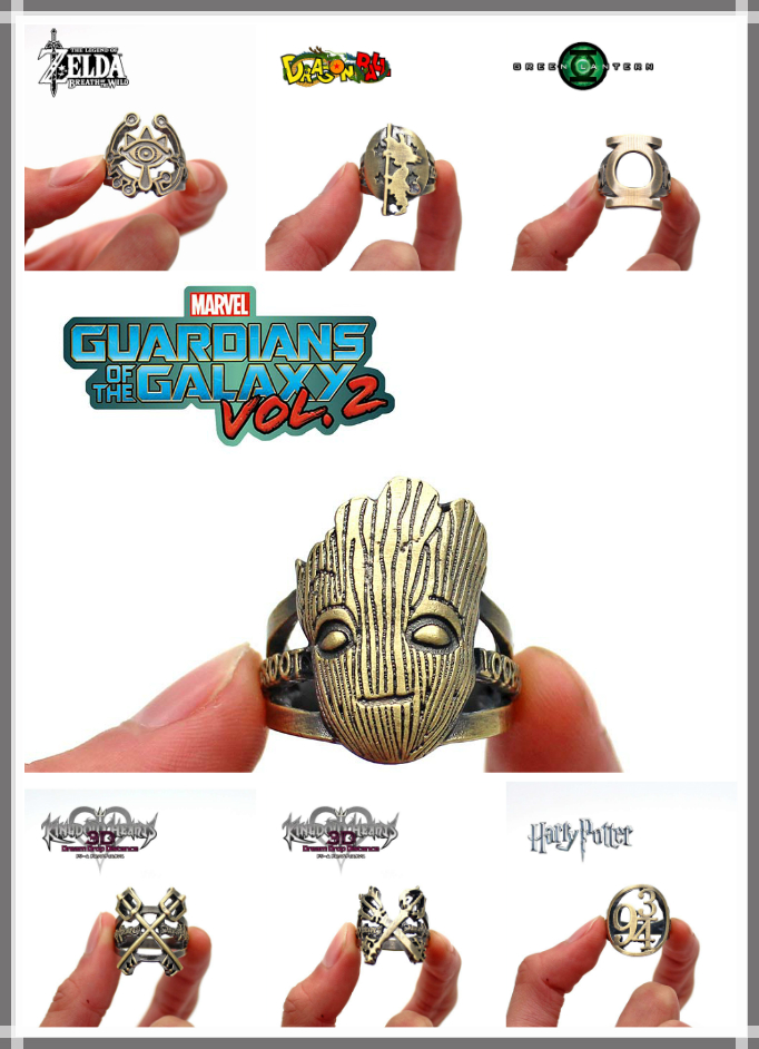 Giancomics Hot Anime Alloy Ring Harri Potter/Kingdom Hearts/The Legend of Zelda Metal Finger Jewelry Souvenir Costume Pendants