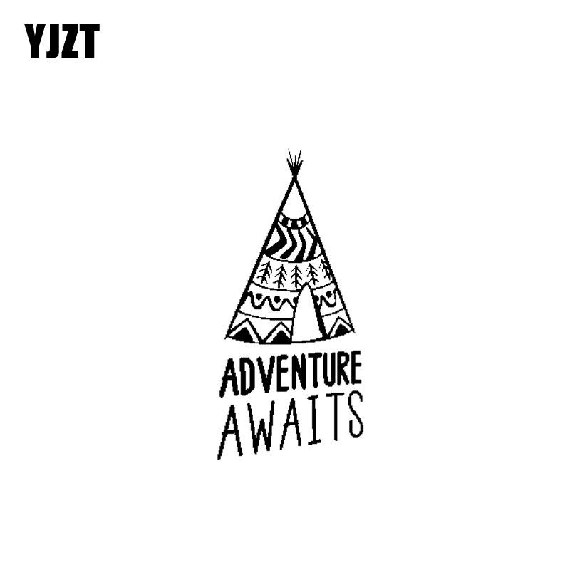 YJZT 8,4 см * 17,8 см Приключение ждет винил личности мотоцикл Стикеры наклейки Черный/Серебряный C13-000486