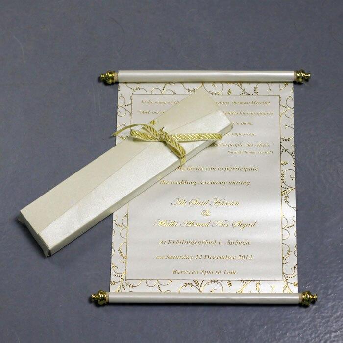 100 STUKS Gepersonaliseerde Bruiloft Uitnodiging Kaart Met Doos, Scroll Verjaardagsfeestje Uitnodigingskaart Met Printing, Papier Uitnodigingen-in Kaarten & Uitnodigingen van Huis & Tuin op  Groep 1